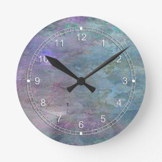 Teal and Lilac Abstract Round Wall Clock