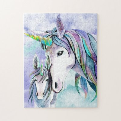 Teal and Lilac Unicorn Mother and Child Jigsaw Puzzle