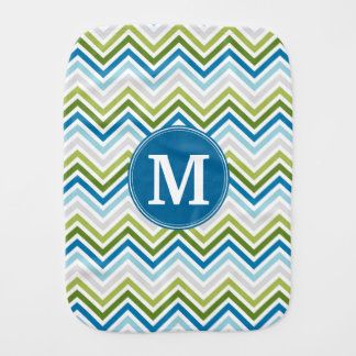 Teal and Lime Chevron Pattern with Monogram Baby Burp Cloth