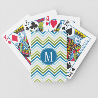 Teal and Lime Chevron Pattern with Monogram Bicycle Playing Cards