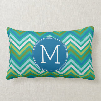 Teal and Lime Chevron Pattern with Monogram Lumbar Pillow