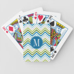 Teal and Lime Chevron Pattern with Monogram Card Decks
