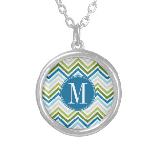 Teal and Lime Chevron Pattern with Monogram Silver Plated Necklace