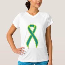 Teal and Lime Green Awareness Ribbon T-Shirt