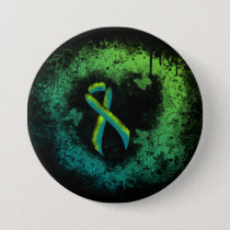 Teal and Lime Green Grunge Heart Button