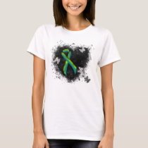 Teal and Lime Green Grunge Heart T-Shirt