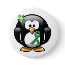 Teal and Lime Green Penguin Button