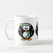 Teal and Lime Green Penguin Coffee Mug