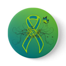 Teal and Lime Green Ribbon with Butterfly Button