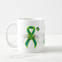 Teal and Lime Green Ribbon with Butterfly Mug