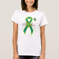 Teal and Lime Green Ribbon with Butterfly T-Shirt