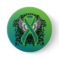 Teal and Lime Green Ribbon with Wings Button