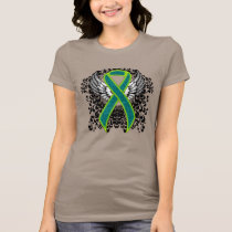 Teal and Lime Green Ribbon with Wings T-Shirt