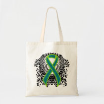 Teal and Lime Green Ribbon with Wings Tote Bag