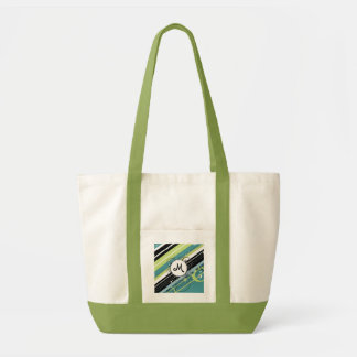 Teal and Lime Modern-Retro Stripes with Monogram Tote Bag