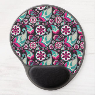 Teal and Magenta Paisley Gel Mousepad
