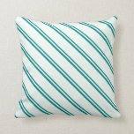 [ Thumbnail: Teal and Mint Cream Colored Lines Throw Pillow ]