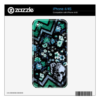 Teal and mint floral chevron skull iPhone 4S skin