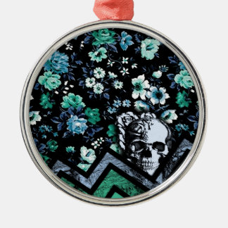 Teal and mint floral chevron skull metal ornament
