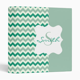 Teal and Moss Chevron Personalized Monogram Binders