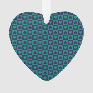 Teal and Navy Heart Design Ornament