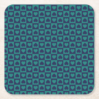 Teal and Navy Heart Design Square Paper Coaster