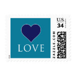 Teal and Navy Heart Love Stamp