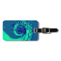 Teal and Navy Nautical Octopus Tentacle Luggage Tag