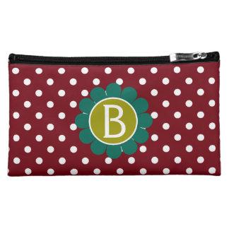 Teal and Olive on Red Granny Flower Polka Dot Makeup Bag