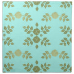 Teal and Olive Roses Vintage Style Printed Napkins