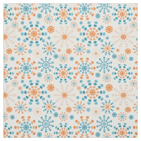 Teal and orange abstract color bursts fabric