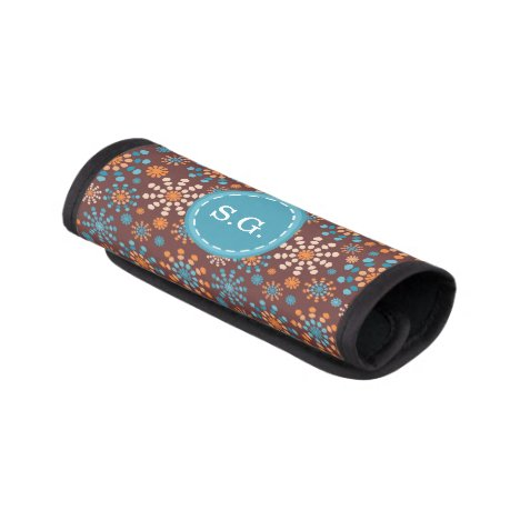 Teal and orange abstract color bursts luggage handle wrap
