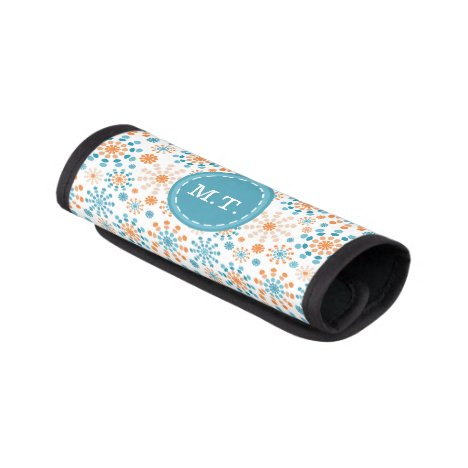 Teal and orange color bursts luggage handle wrap
