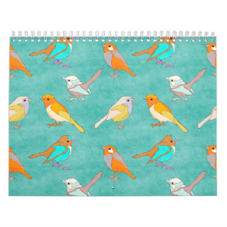 Teal and Orange Colorful Birds Pattern Turquoise Calendar