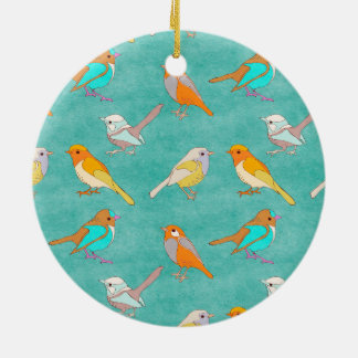Teal and Orange Colorful Birds Pattern Turquoise Ceramic Ornament