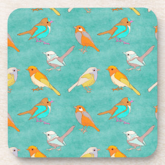 Teal and Orange Colorful Birds Pattern Turquoise Drink Coaster