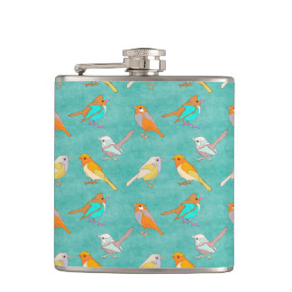 Teal and Orange Colorful Birds Pattern Turquoise Hip Flasks