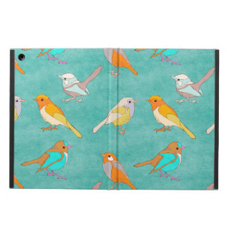 Teal and Orange Colorful Birds Pattern Turquoise iPad Air Cases