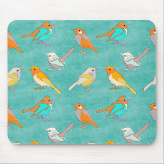 Teal and Orange Colorful Birds Pattern Turquoise Mouse Pad