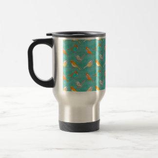 Teal and Orange Colorful Birds Pattern Turquoise Travel Mug
