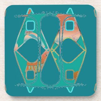 Teal and Orange Design on Durable Coasters