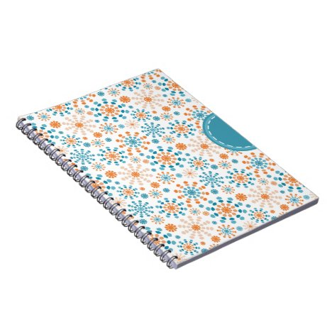 Teal and Orange fireworks bursts abstract circles Notebook