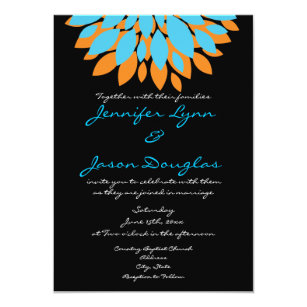 Teal And Orange Flowers Black Wedding Invitations