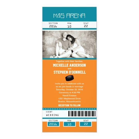 Teal And Orange Hockey Ticket Wedding Invitation Zazzle