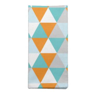 Teal and Orange Modern Triangle Pattern Cloth Napkins
