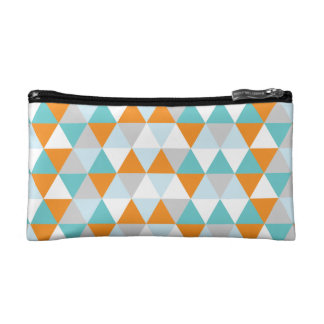 Teal and Orange Modern Triangle Pattern Cosmetic Bags