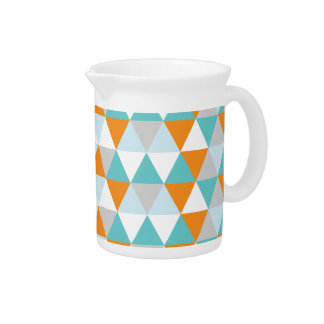 Teal and Orange Modern Triangle Pattern Pitcher