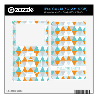 Teal and Orange Modern Triangle Pattern Decal For iPod