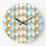 Teal and Orange Modern Triangle Pattern Wall Clock