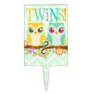 Teal and Orange Owl Twins Baby Shower Cake Topper